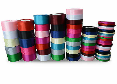 SATIN RIBBON 22m/25yards DOUBLE SIDED for Crafts, Decoration 6 10 16 25 38 50 MM