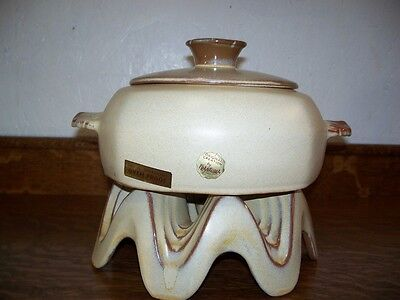 Frankoma Casserole and Warmer Stand with Original Labels!