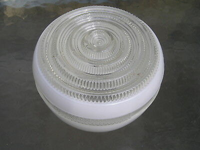 Vintage Mid Century Modern Retro Glass Shade Ceiling Fixture Deco clear`w~white