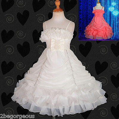 Chiffon Organza Tiered Dress Wedding Flower Girl Bridesmaid Size 2y-8y #186