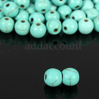 100Pcs Wholesale Natural Round Turquoise Gem Spacer Loose Beads Charms 6mm Hot