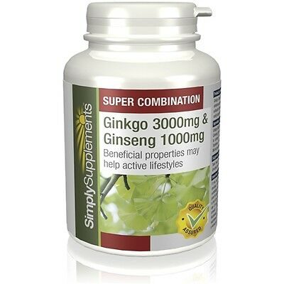 Simply Supplements Ginkgo Biloba & Korean Ginseng 120 Tablets (E409)