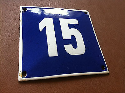 ANTIQUE VINTAGE FRENCH ENAMEL SIGN HOUSE NUMBER 15 DOOR GATE SIGN 1950's
