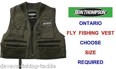 Ron Thompson Ontario Fly Vest Waistcoat Wading Game Trout Fly Rod Fishing Jacket