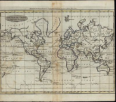 World Map Africa Asia Europe Americas rare ca. 1798 antique American map