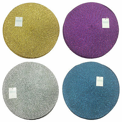 Metallic Effect 12in Diameter Placemats Pack Of 4 - 4 Colours Too Choose From