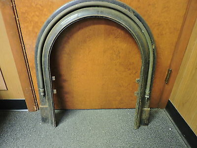 Antique Late 1800's Cast Iron Arched Fireplace Insert Cover Frame A