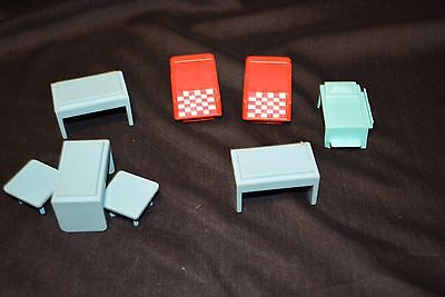 Fisher Price Little People Vtg Square People Playskool Table Chairs Bed Set 8