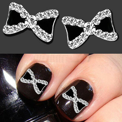 Chic 3D*10pcs Bowknot Nail Art Glitters Decoration Rhinestone Bow Manicure Tips