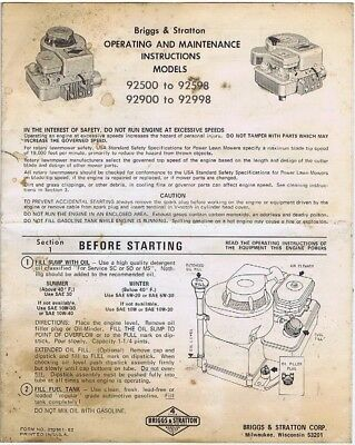 Briggs & Stratton Operating and Maintenance Instructions, Models 92500-92598++