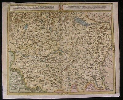 Swabia Germany 1628 antique wood engraved hand color map