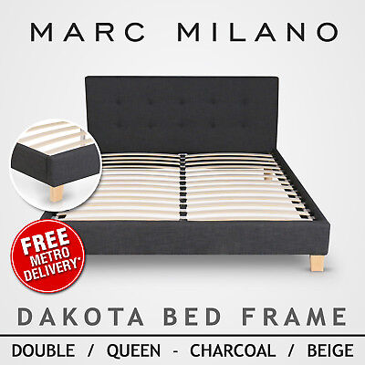 New Madison Double/Queen Size Bed Frame Charcoal/Light Grey Fabric/White Leather
