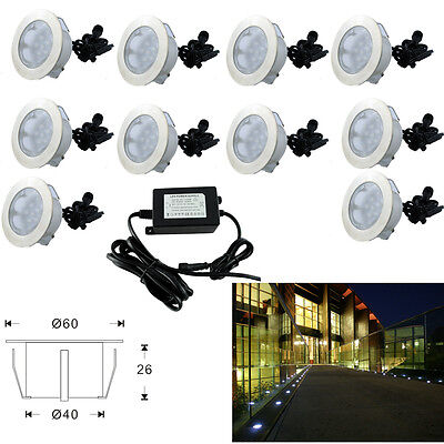 10x 60mm LED Deck Path Light Outdoor Garden Yard Stainless steel Accent Lamp 12V