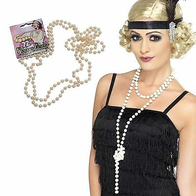 """Gatsby Charleston Moll Flapper 72"""" Pearl Beads 20s Fancy Dress Costume Necklace"""