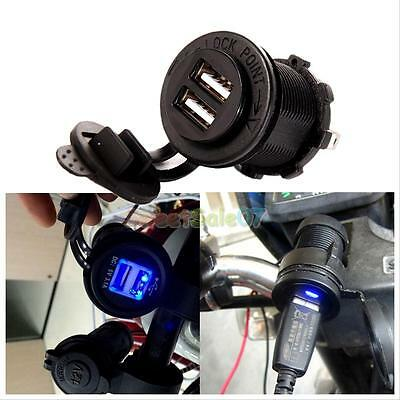 3.1A 12V Waterproof Dual USB Charger Socket Plug Outlet Panel Mount Motorcycle