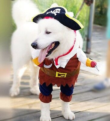 Pirate Dog Costume Funny Pet Clothing Halloween Dress Up Apparel With Hat