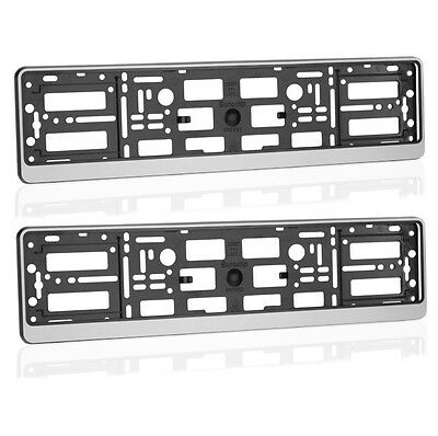 2x Silver ABS Number Plate Surrounds Holder Frame for all cars