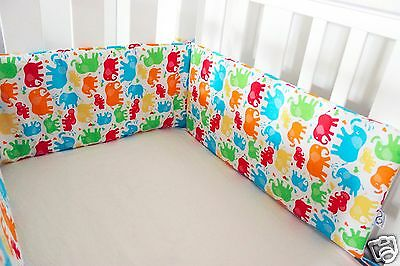 Gooseberry Baby Cot Crib Bumper Cotton Padded Elephants 210 x 30 cm