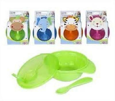 ** FIRST STEPS BABY TRAVEL FEEDING BOWL & SPOON SET VARIOUS COLOURS NEW ** 6m+