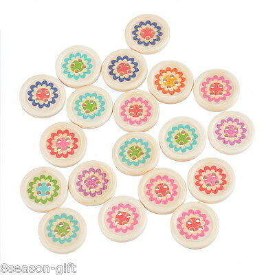 30PCs Wooden Sewing Buttons Natural Round Flower 4 Holes DIY Scrapbook 20mm