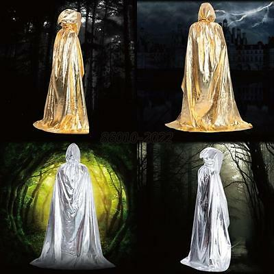 Medieval Halloween Costume Hooded Long Cloak Gothic Wicca Robe Wedding Cape B58