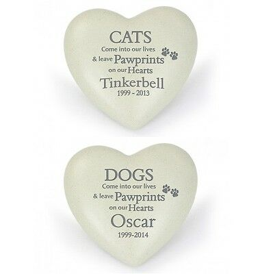 Personalised Pet Memorial Stone Heart Ornament Remembrance for Cats Dogs