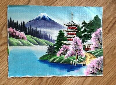 Beautiful Vintage  Art Oriental Asian Silk Embroidery, Pagoda,Cherry Blossom