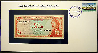 East Caribbean States $1 - 1965 Uncirculated Banknote in stamped envelope.