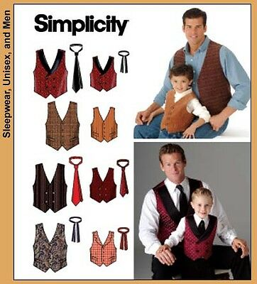NEW Simplicity Boys/Mens Sewing Pattern 4762 Vests, Waistcoats & Ties, FREE POST