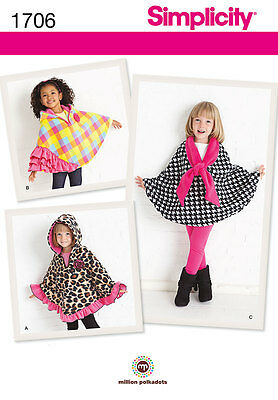 NEW Simplicity Disney Childrens Sewing Pattern 1706 Girls Fleece Capes FREE POST