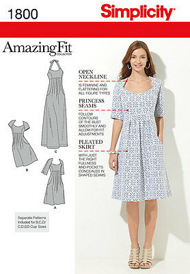 Simplicity Amazing Fit Misses/Plus Size Sewing Pattern 1800 Dress