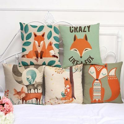 Cute Fox Print Cotton Sofa Pillow Case Throw Cushion Cover Home Decoration