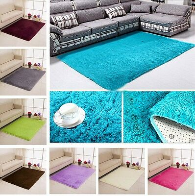 Solid Small Large Size Fluffy Anti-skid Shaggy Area Rug Carpet  Mat