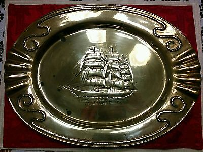 Antique American Mastercraft Phelps Dodge 1834 Solid Brass Ship Platter 16 1/4""