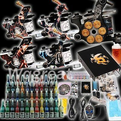 Professional Complete Tattoo Kit 5 Top Machine Gun 54 Ink 20 Needle Power Supply