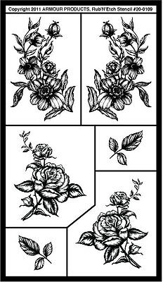 Armour Rub 'n' Etch Glass Etching Stencil Sheet  ~ Detailed Floral