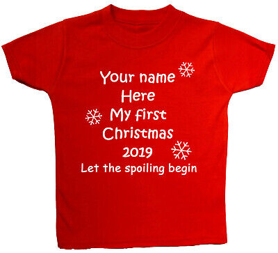 Personalised Name My First Christmas & Year Baby, Children, T-Shirt, Top Xmas