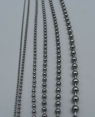 """1.5 mm-4.5 mm 7""""-42"""" SILVER  STAINLESS STEEL BALL CHAIN NECKLACE, USA SELLER"""