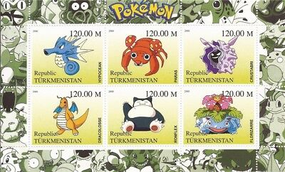 2000 Pokemon on Stamps - 6 Stamp Sheet - 20D-104