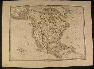 North America 1834 antique engraved outline hand color map
