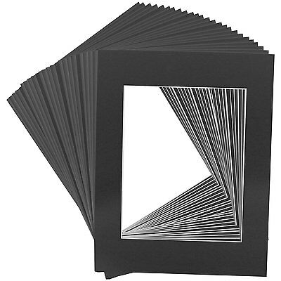 25 Art Mats Premier Quality Acid-Free Pre-Cut 11x14 Black Picture Mat Face Frame