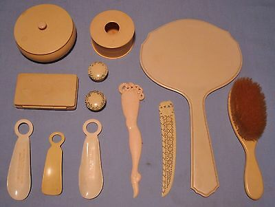 Collectible 12-Pcs Vanity Accessories Celluloid Ivorene Mirror Brush Shoe Horns