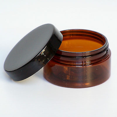 10x 50g AMBER PET PLASTIC JAR w SCREW LID (choice of colour) BALM COSMETIC CREAM