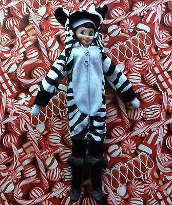Christmas Elf Doll Clothes WARM WINTER ZEBRA SNOW SUIT Halloween Outfit Shelf