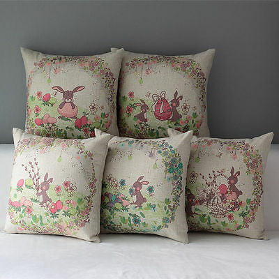 Easter Cotton Throw Waist Cushion Cover Rabbit Flower Pillow Case Home Car Decor