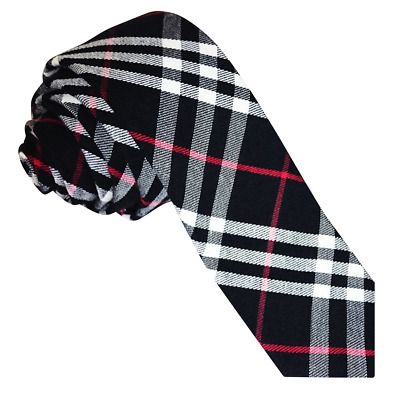 DQT Woven Tartan Plaid Black White Red Formal Casual Mens Skinny Tie