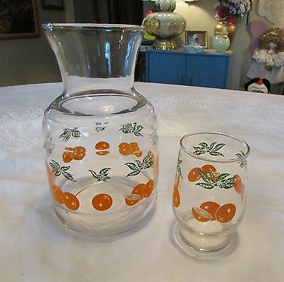 Vintage Small Orange Juice Carafe Pitcher And Glass