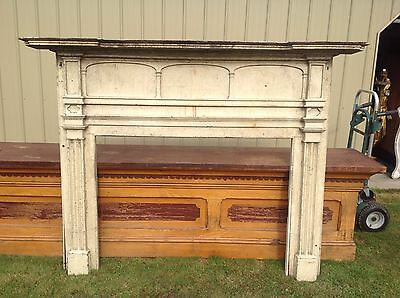 Wonderful Federal Period Large Mantel Mantle In Crusty White Over Original Blue