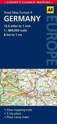 4. Germany: AA Road Map Europe 9780749575328 by AA Publishing, Sheet map, NEW