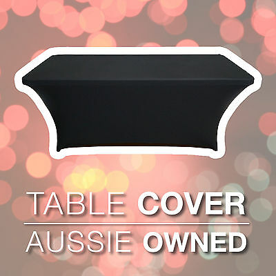 2 x BLACK TRESTLE TABLE COVER – Lycra Spandex 1.8m or 6ft | EASY FIT